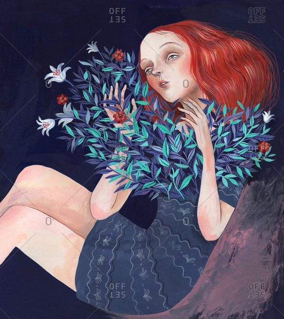 Girl with flowers growing from her chest