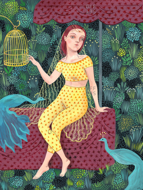 Girl opening a cage and sitting under a parasol surrounded by peacocks