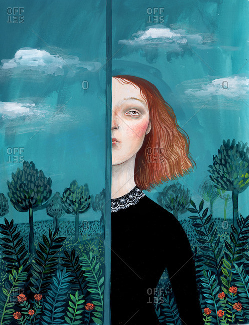 Woman with half of her face hidden behind a curtain with the image of a landscape