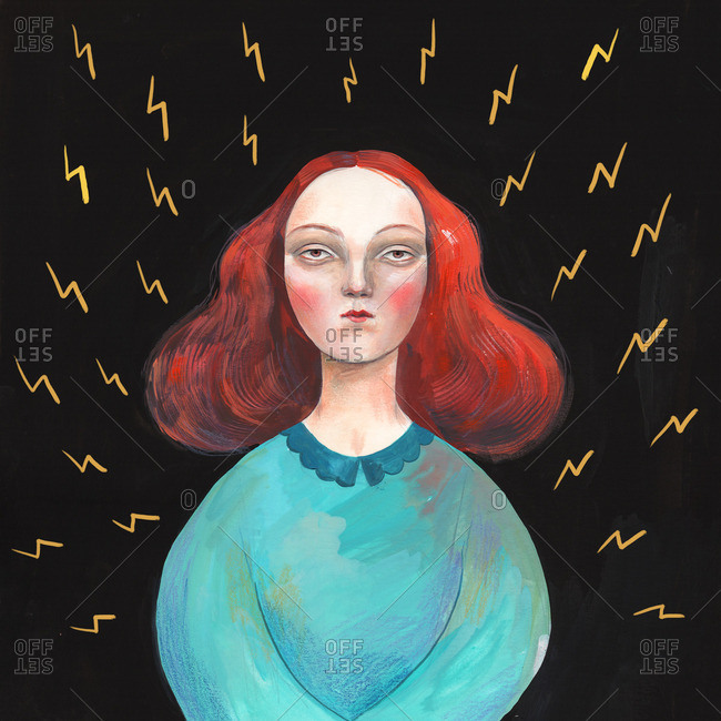 Redhead woman surrounded by lightning bolts