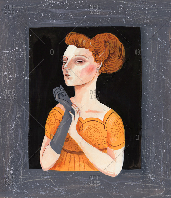 Elegant woman wearing a glove and looking through a window