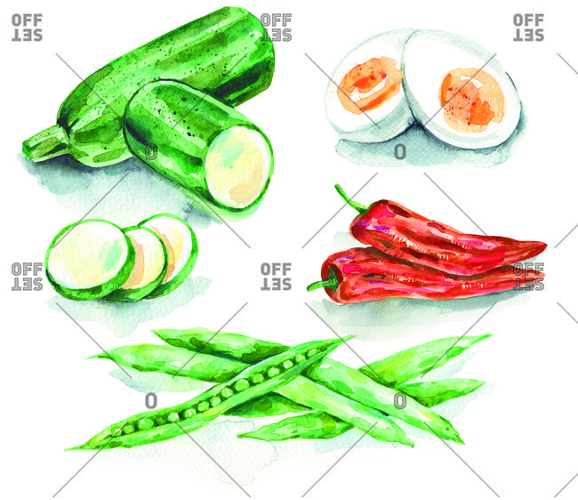 Illustration of courgettes, red peppers, boiled eggs and peas on a white background