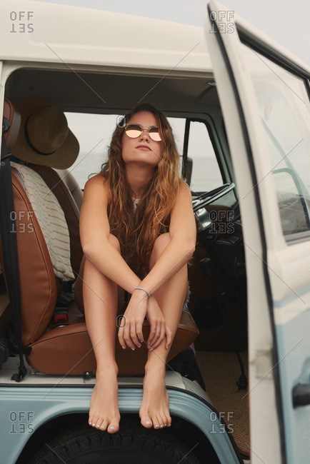 Portrait of girl on a road trip