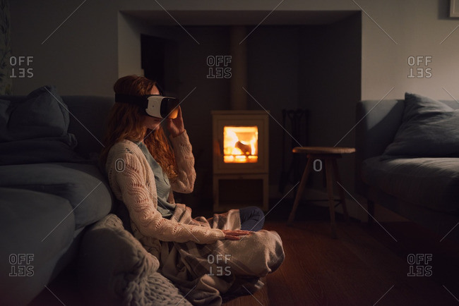 Woman wearing VR headset 3D