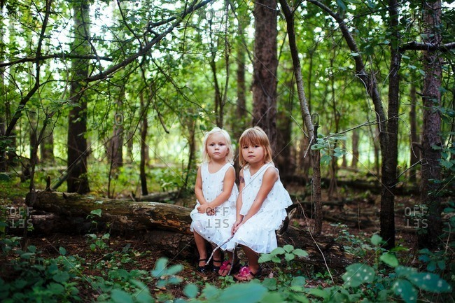 Two sisters in white dresses sitting on a log in the woods