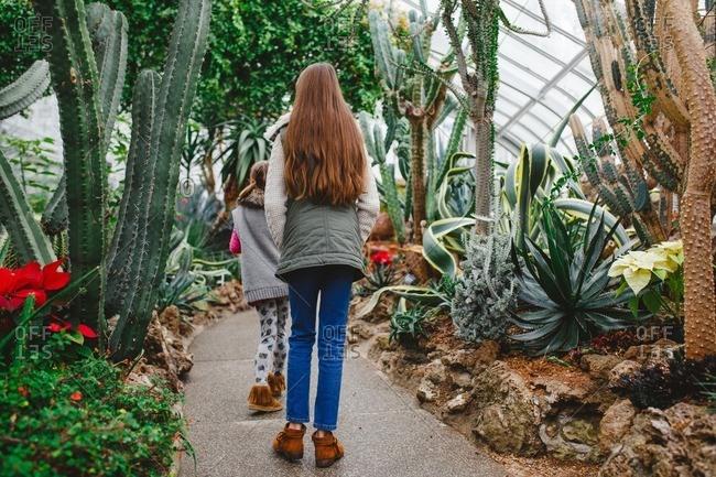 Girls inside garden with cactus plants