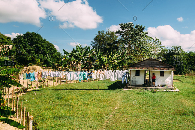December 11, 2016, Cuba: Laundry hanging on clothesline on a modest wooden house