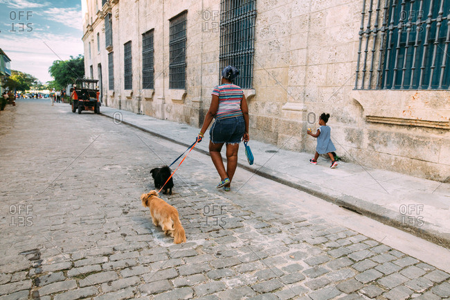 December 13, 2016, Cuba: Woman walking with two dogs and child up cobblestone street