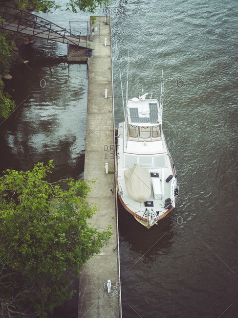 High angle view of boat moored on a river