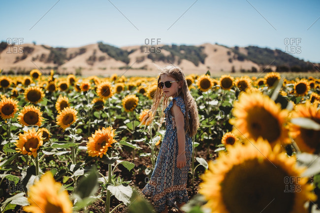 Girl wearing sunglasses and dress standing in field of sunflowers