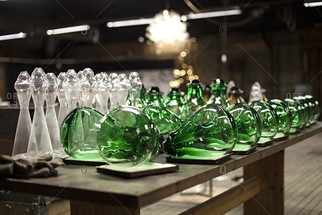Glass pieces in a workshop