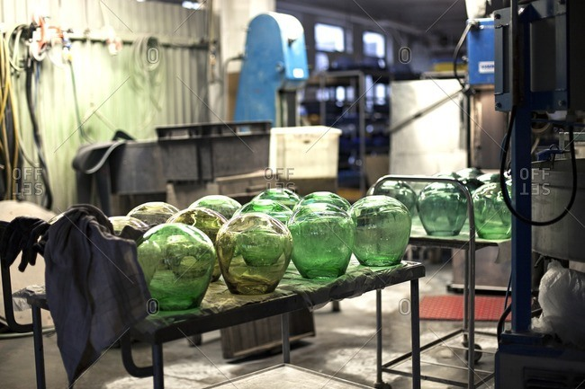 Decorative glass pieces in workshop