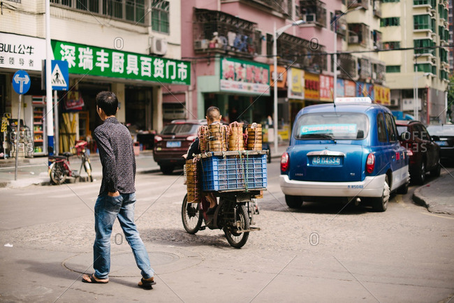 Guangdong Province, China - November 2, 2015: A street scene at day