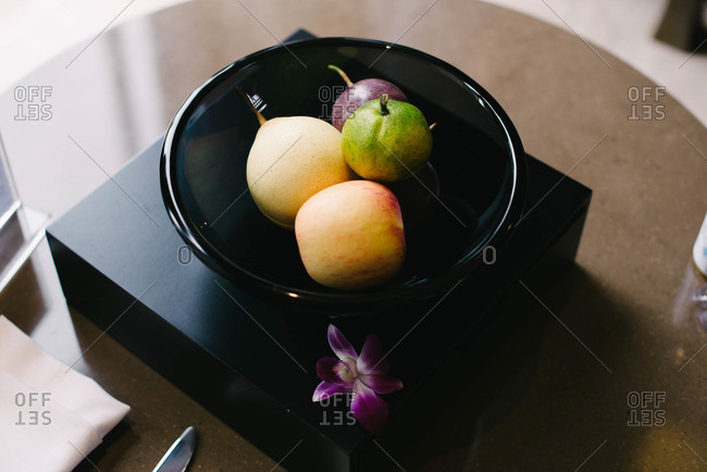 A fruit bowl on table top