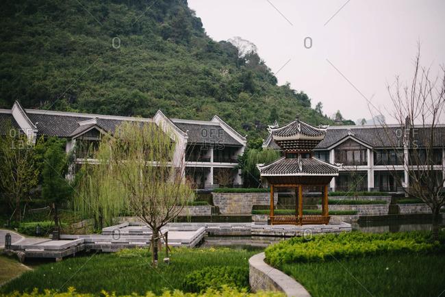 A pagoda among buildings, China