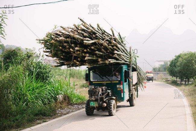 Guangxi, China - November 4, 2015: Truck delivering cut trees
