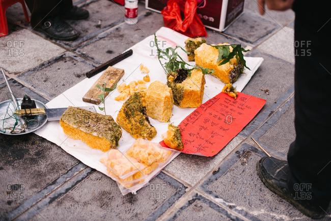 China - November 6, 2015: Honey for sale in market