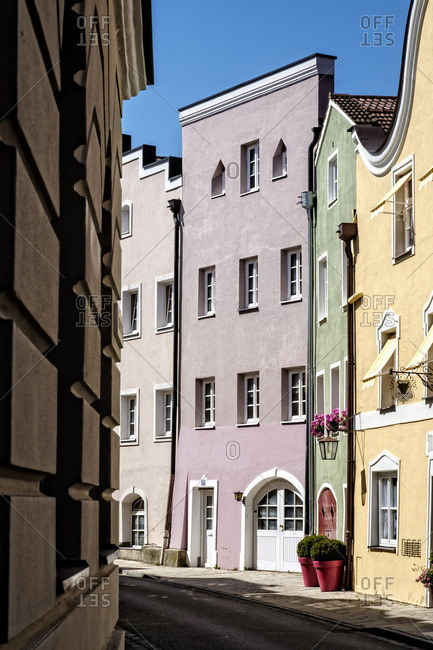 Germany- Burghausen- houses at Mautnerstrasse