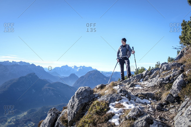 Germany- Bavaria- Hochstaufen- hiker at Jaegersteig