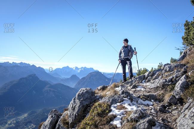 Germany- Bavaria- Hochstaufen- hiker at Jaegersteig