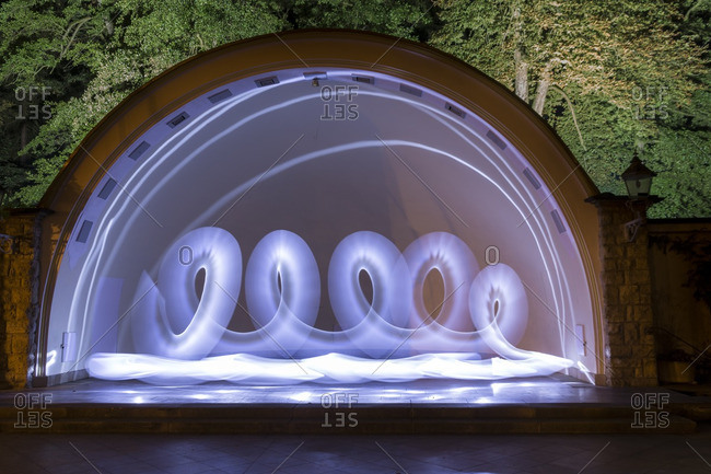 Light painting on outdoor stage