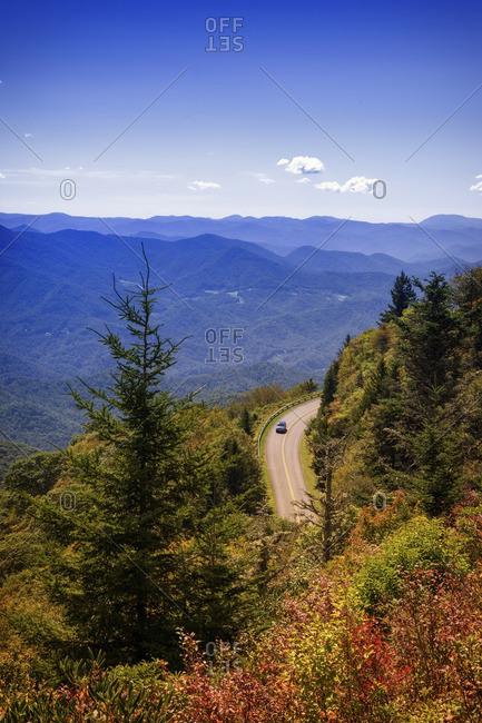 USA- North Carolina- Blue Ridge Mountains- car driving on Blue Ridge Parkway