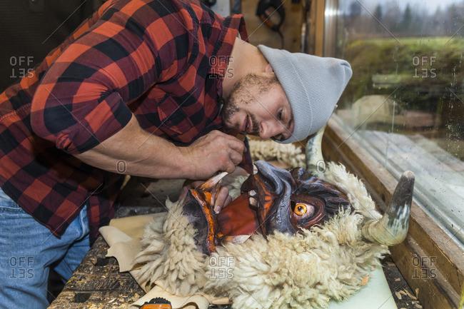 Wood Carver Manufacturing Traditional Krampus Mask Stock Photo Offset