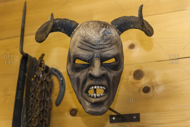 Handcrafted wooden Krampus mask
