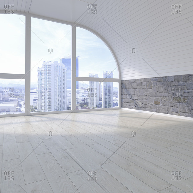 Empty room with view at skyline- 3D Rendering