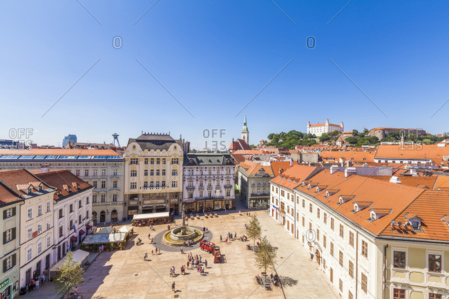Slovakia, Bratislava - July 30, 2016: View to main place with Maximilan Fountain at the old town from above