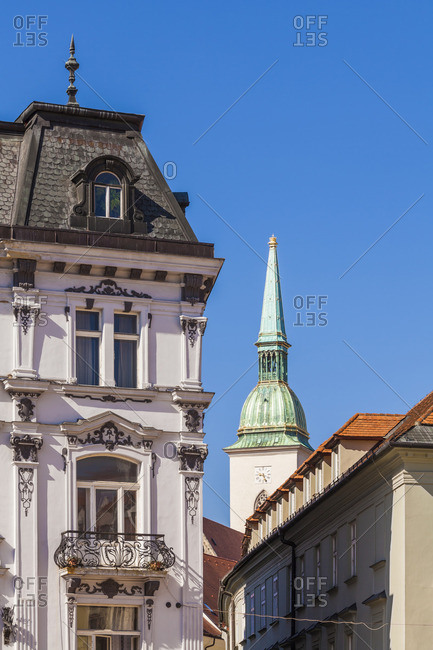 Slovakia- Bratislava- view to spire of Martin's Cathedral at the old town