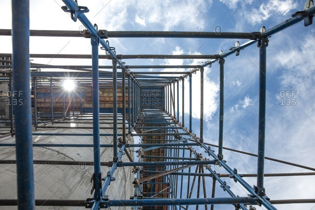 Scaffold on construction site- view from below
