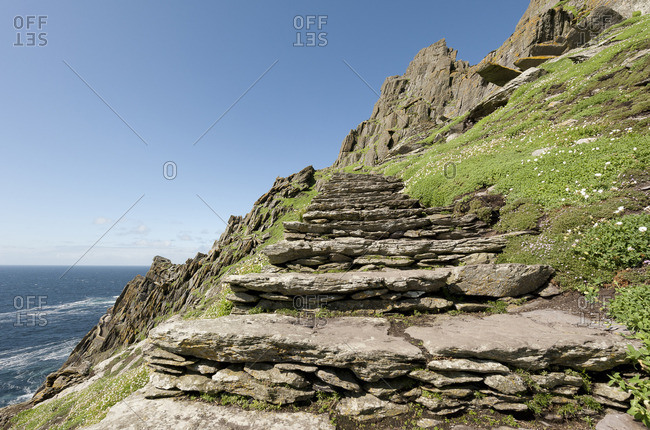 Low angle view of steps and staircases in Skellig islands of County Kerry, Ireland