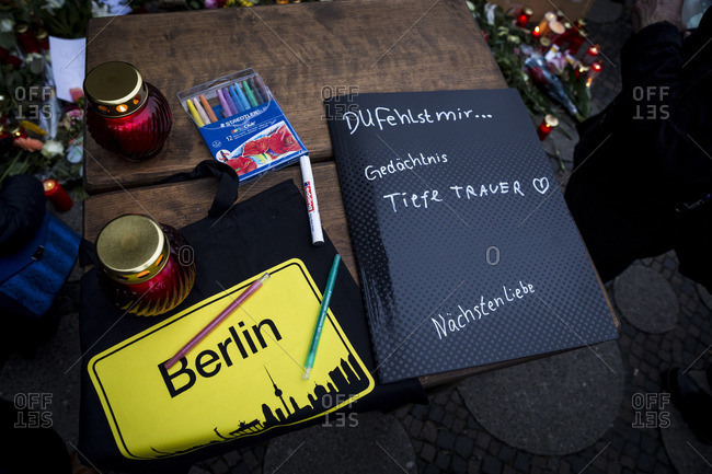 Berlin, Germany - December 20, 2016: Memorial message book the day after the terrorist attack in Berlin, Germany, on the 19th of December 2016