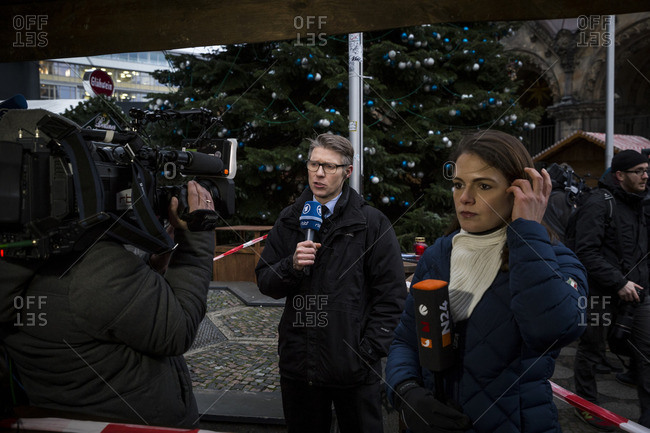 Berlin, Germany - December 20, 2016: Media on site the day after the terrorist attack in Berlin, Germany, on the 19th of December 2016