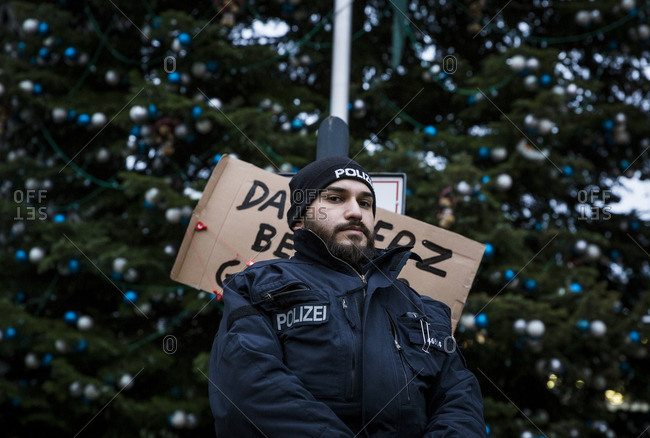 Berlin, Germany - December 20, 2016: A policeman on guard the day after the terrorist attack in Berlin, Germany, on the 19th of December 2016