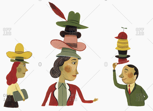 Three people wearing several hats