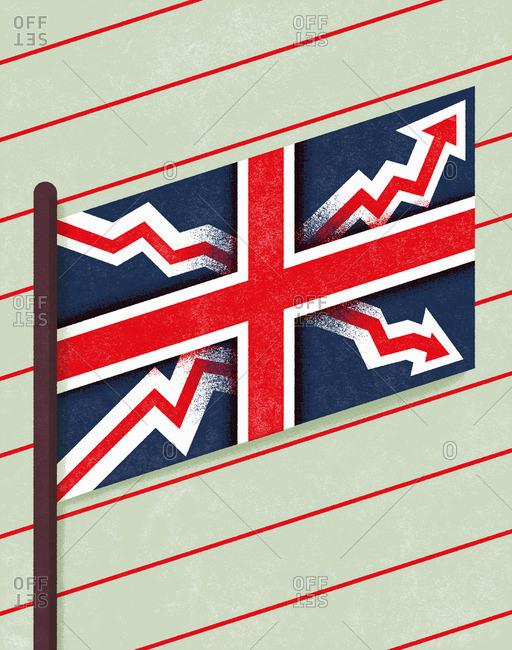United Kingdom flag with crazy arrows