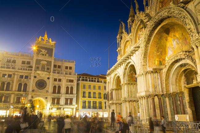 Venice, Italy - October 16, 2016: St. Mark's Basilica, Piazza San Marco, Venice, UNESCO World Heritage Site, Veneto, Italy, Europe