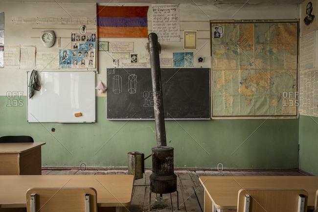 Zovasar, Armenia - March 6, 2016: Typical classroom at Zovasar school, Armenia