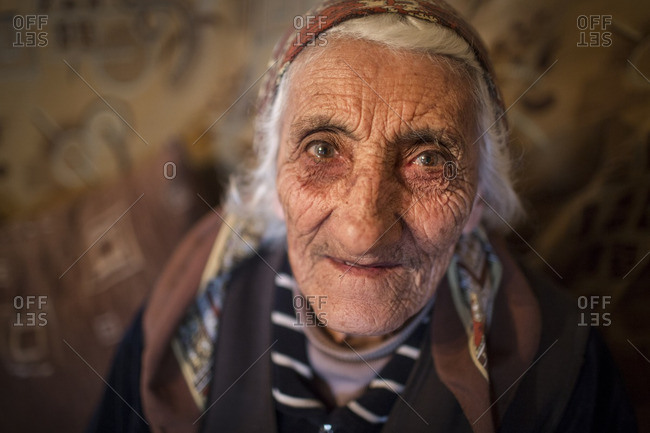 Zovasar, Armenia - March 6, 2016: Lady in her home in the village of Zovasar, Armenia
