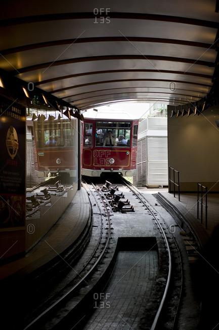 October 26, 2016: Tram arriving at the station