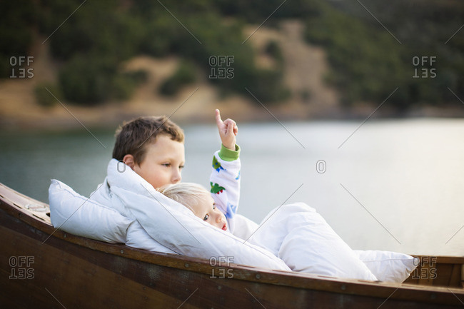 Two young boys in a canoe