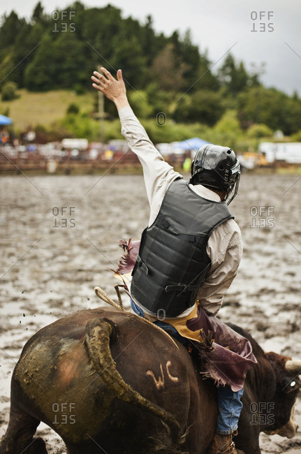 Man riding a bull in a rodeo