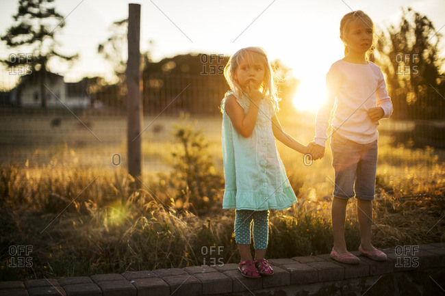 Two young girls standing on a wall holding hands