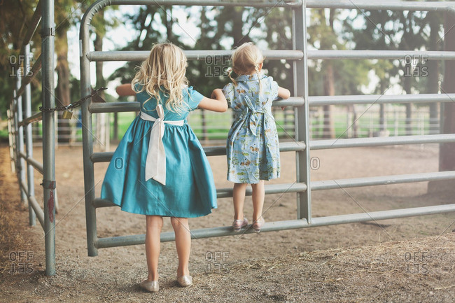 Two young girls in dresses standing at horse corral