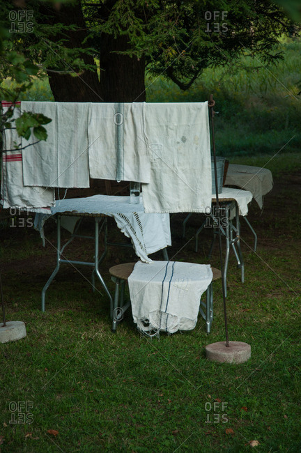Linens hanging out to dry