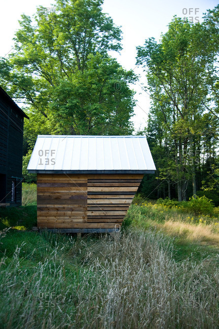 Beach Lake, Pennsylvania - August 4, 2012: A small rustic building in the countryside of the Mildred's Lane art complex