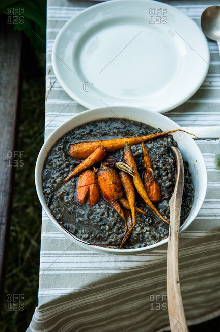 Black beans and roasted carrots