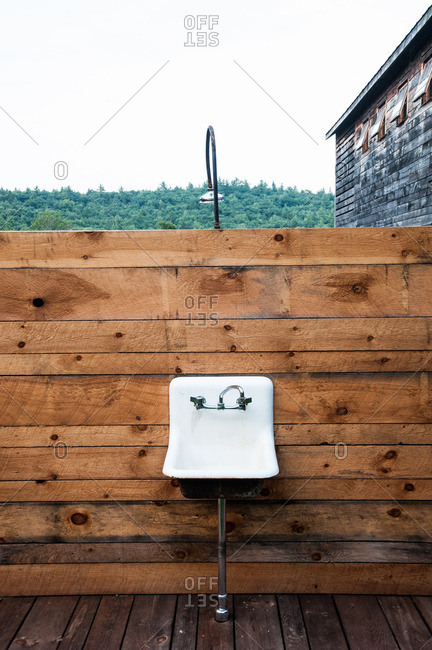 Beach Lake, Pennsylvania - August 4, 2012: An outdoor sink and shower area at the Mildred's Lane art complex